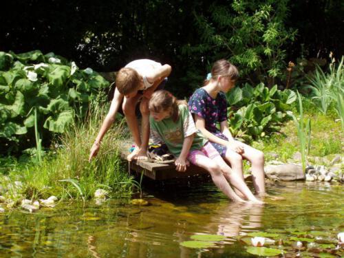 Kinder auf Teichsteg