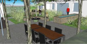 3D Sitzplatz unter Bäumen